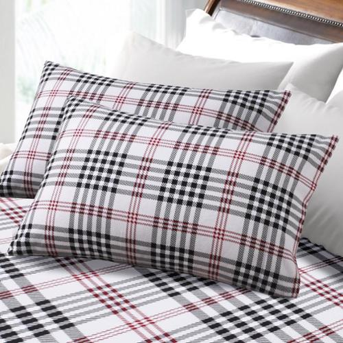 6-ounce Hemstitched Plaid Flannel Pillowcases (Set of 2) Standard