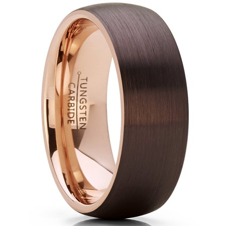 Men's Women's Chocolate Brown and Rose Tone Tungsten Carbide Wedding Band Ring, brushed dome Comfort Fit (Cleveland Browns Ring)