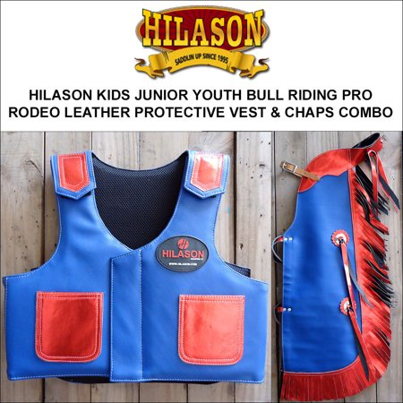 (HILASON KIDS JUNIOR YOUTH BULL RIDING PRO RODEO LEATHER PROTECTIVE VEST CHAPS)