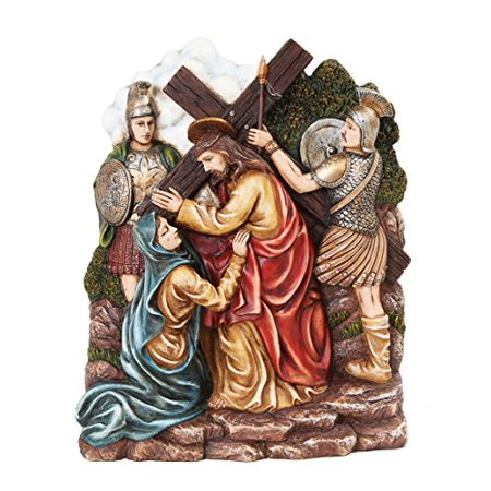 9.25 Inch Stations of The Cross Christ with Mary Statue (Statue Of Jesus Christ On The Cross)