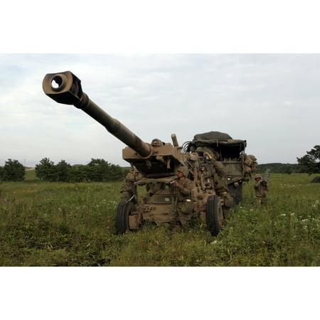 Yausubetsu Maneuver Area Hokkaido Japan September 6 2005 - Marines set up a M198 155mm howitzer Poster Print
