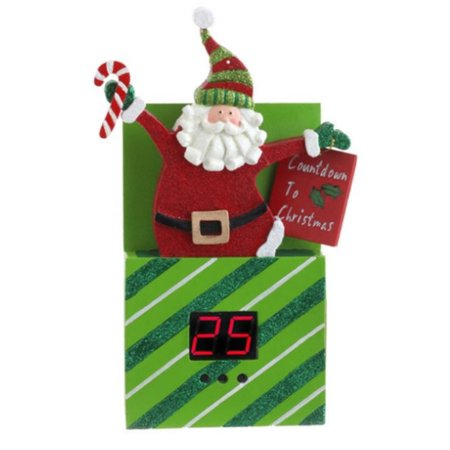 """8.75"""" Green, Red and White Diagonal Striped Santa Claus Pop Up Present Countdown To Christmas Ornament Decoration - image 1 of 1"""