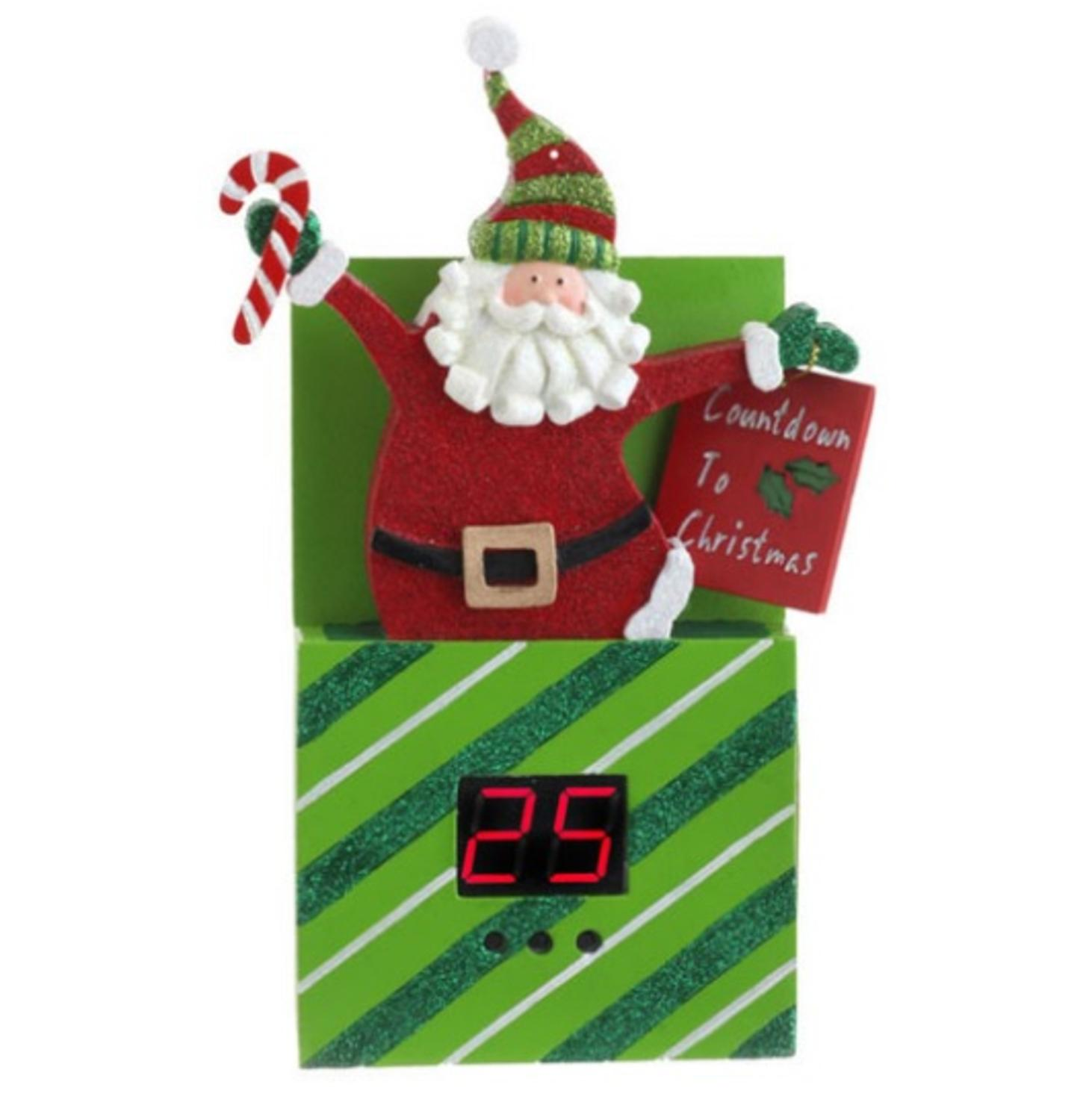 "8.75"" Green, Red and White Diagonal Striped Santa Claus Pop Up Present Countdown To Christmas Ornament Decoration"