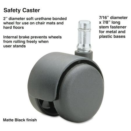 Master Caster Safety Casters,Standard Neck, Polyurethane, B Stem, 110 lbs./Caster, 5/Set