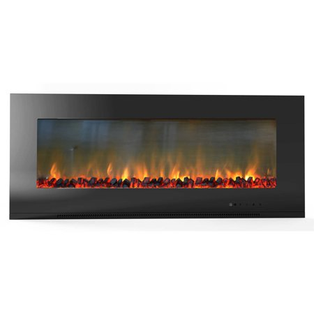 Cambridge Metropolitan 56 Wall Mount Electronic Fireplace With Flat Panel And Realistic Logs