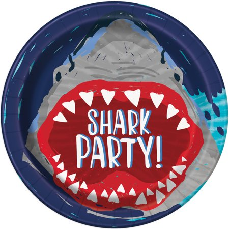 Shark Party Paper Dinner Plates, 9in, - Party Paper Plates