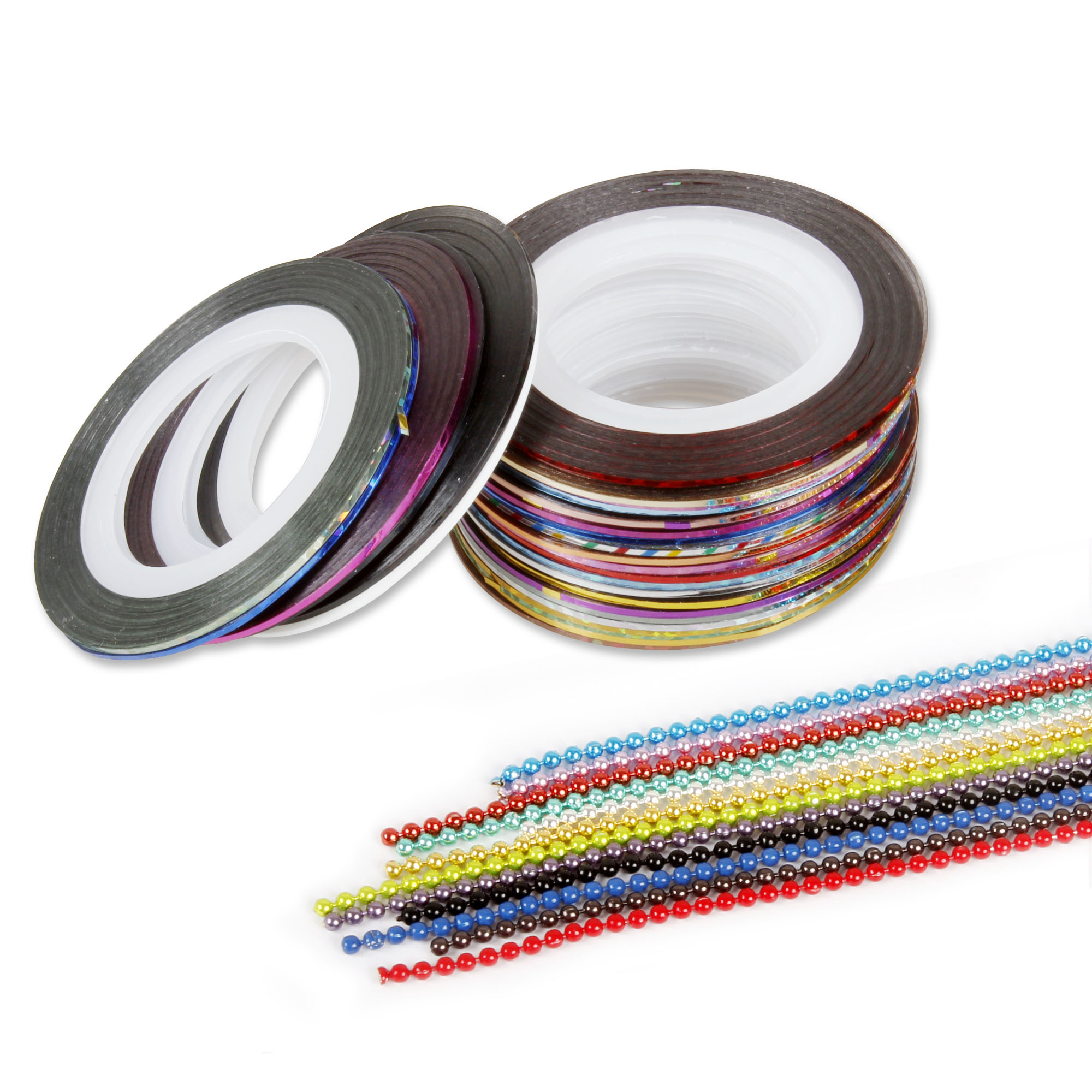 BMC Mixed Color Nail Art Decoration Tape Sticker Strips Wheel Bead Chains Set