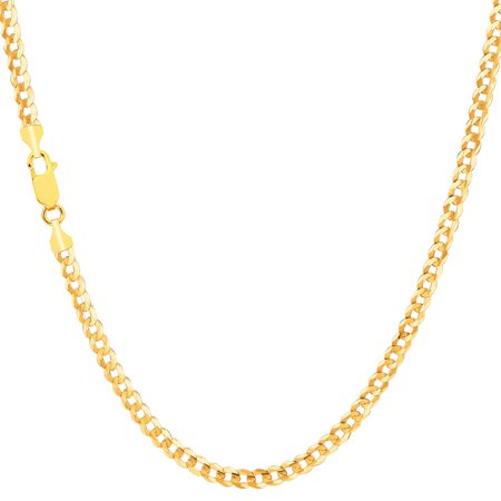 Men's 10K Yellow Gold 2.8mm Solid Cuban Link Comfort Curb Chain Necklace 16