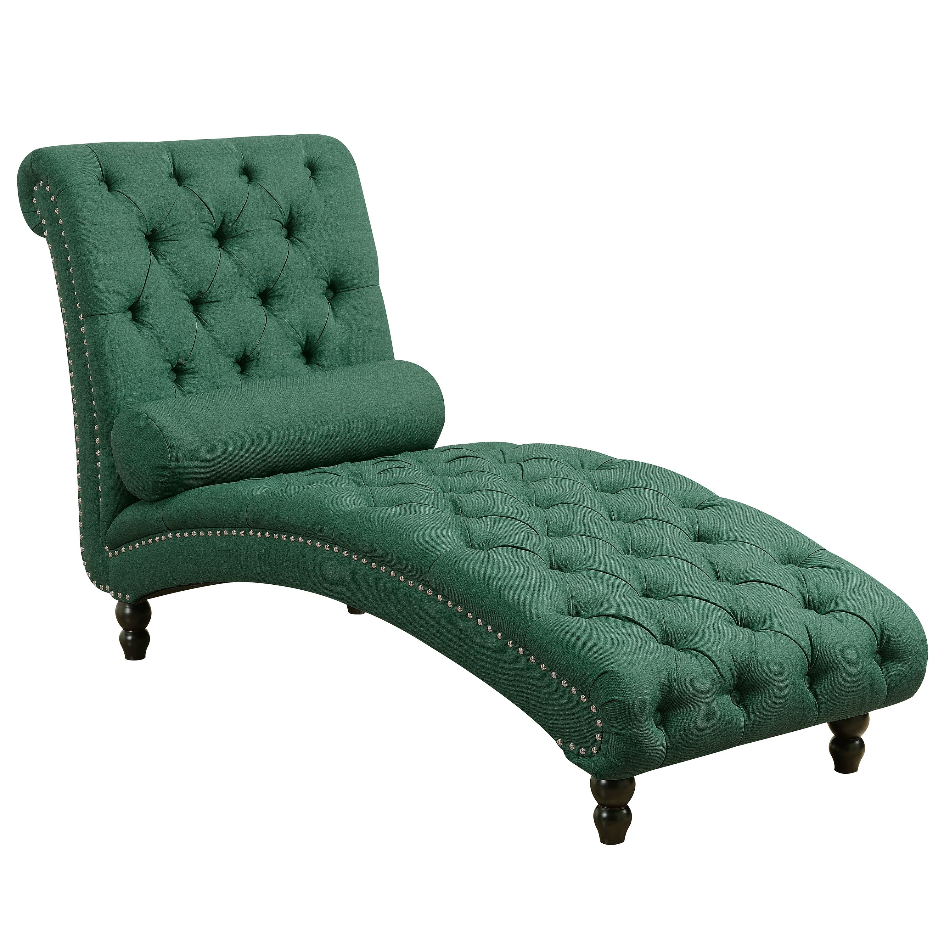 Alice Polyester Button Tufted Chesterfield Armless Chaise Lounge with Silver Accent Nailheads