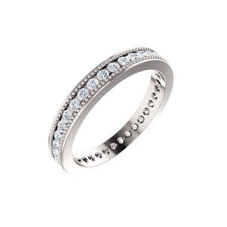 14k White Gold 1/2 Ct Diamond Channel Set Milgrain Edge Anniversary Wedding Eternity Band - Size 5