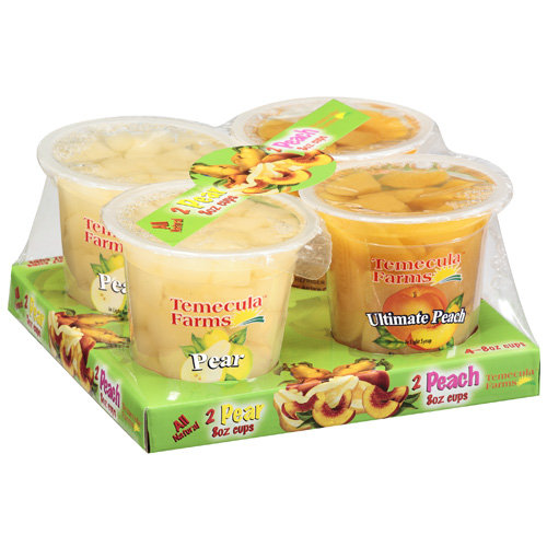 Temecula Farms: 2 Pear/2 Peach Fruit Cups, 4 Ct