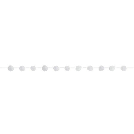 Tulle Pom Pom Garland, 7 ft, White, 1ct - Halloween Pom Poms