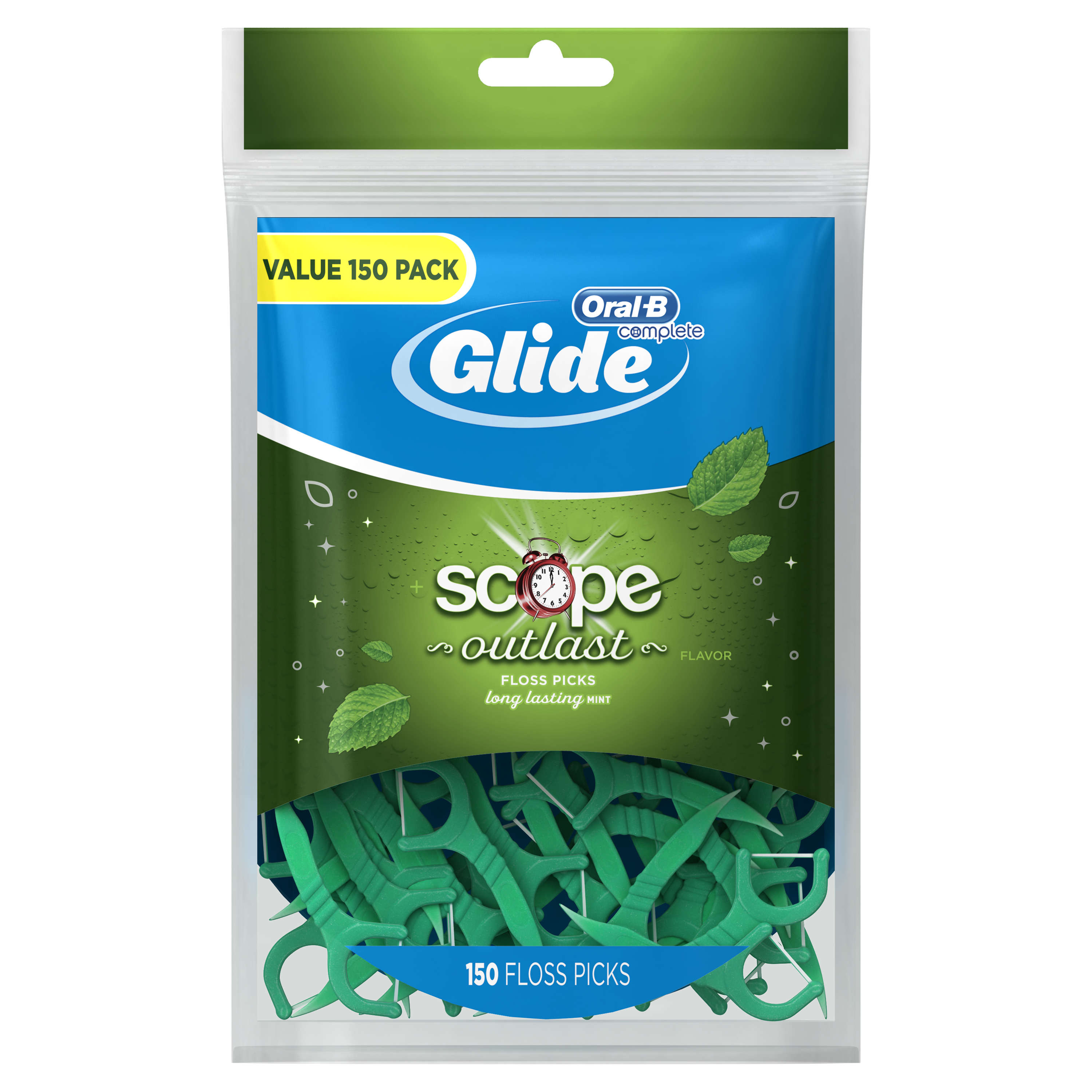 Oral-B Glide Complete with Scope Outlast Dental Floss Picks, Mint, 150 Count