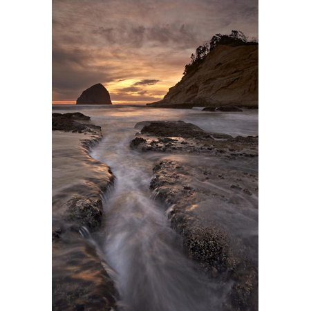 City Of North Little Rock (Haystack Rock at Sunset, Pacific City, Oregon, United States of America, North America Print Wall Art By)
