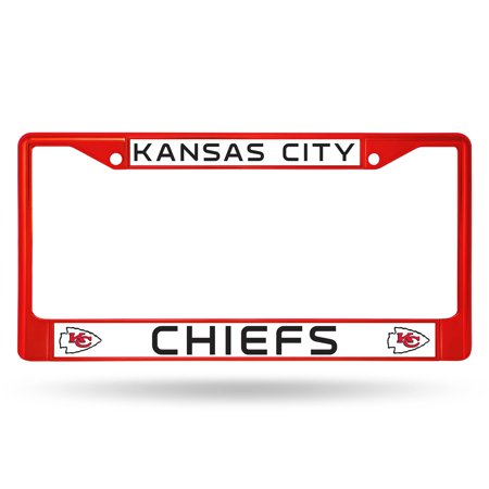 Kansas City Chiefs NFL Licensed Red Painted Chrome Metal License Plate Frame ()