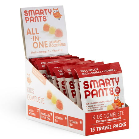 Smartypants gummy vitamins on-the-go! kids complete with multivitamin, omega 3s and vitamin d packets, 15 ct
