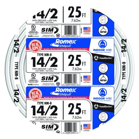 Southwire 28827421 25' 14/2 with ground Romex brand SIMpull residential indoor electrical wire type NM-B White