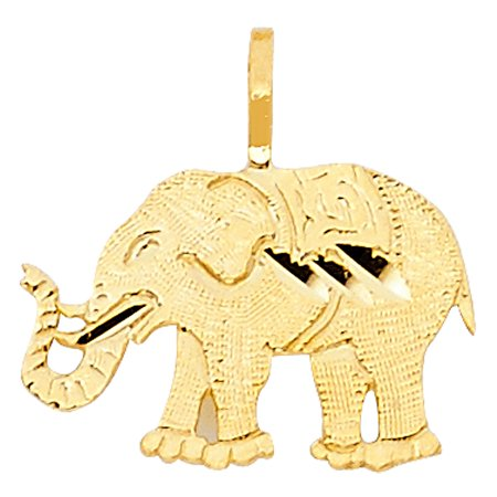 - Cute Simple Elephant Charm Yellow 14k Italian Solid Gold 10mm x 15mm Pendant Necklace Accessory Fine Jewelry