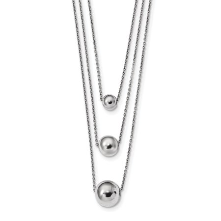 Sterling Silver 3 Strand Clasp (925 Sterling Silver 3 Strand 2 Inch Extension Chain Necklace Pendant Charm Fancy Bead Station Multi Layer Gifts For Women For Her)