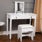 Winado Flip-top Mirror Vanity Set Makeup Dressing Table with 2 Drawers and Stool for bedroom,White