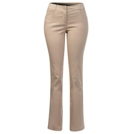 Retro Womens Khakis (Made by Olivia Women's Comfy Bootcut Curvy Fit Trouser Pants Khaki M )