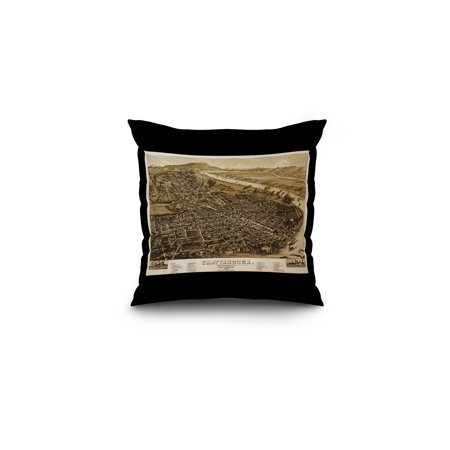 Chattanooga, Tennesseee - (1886) - Panoramic Map (16x16 Spun Polyester Pillow, Black Border)