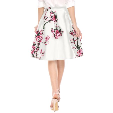 Women's Floral Prints High Waist Pleated A Line Midi Skirt Dress