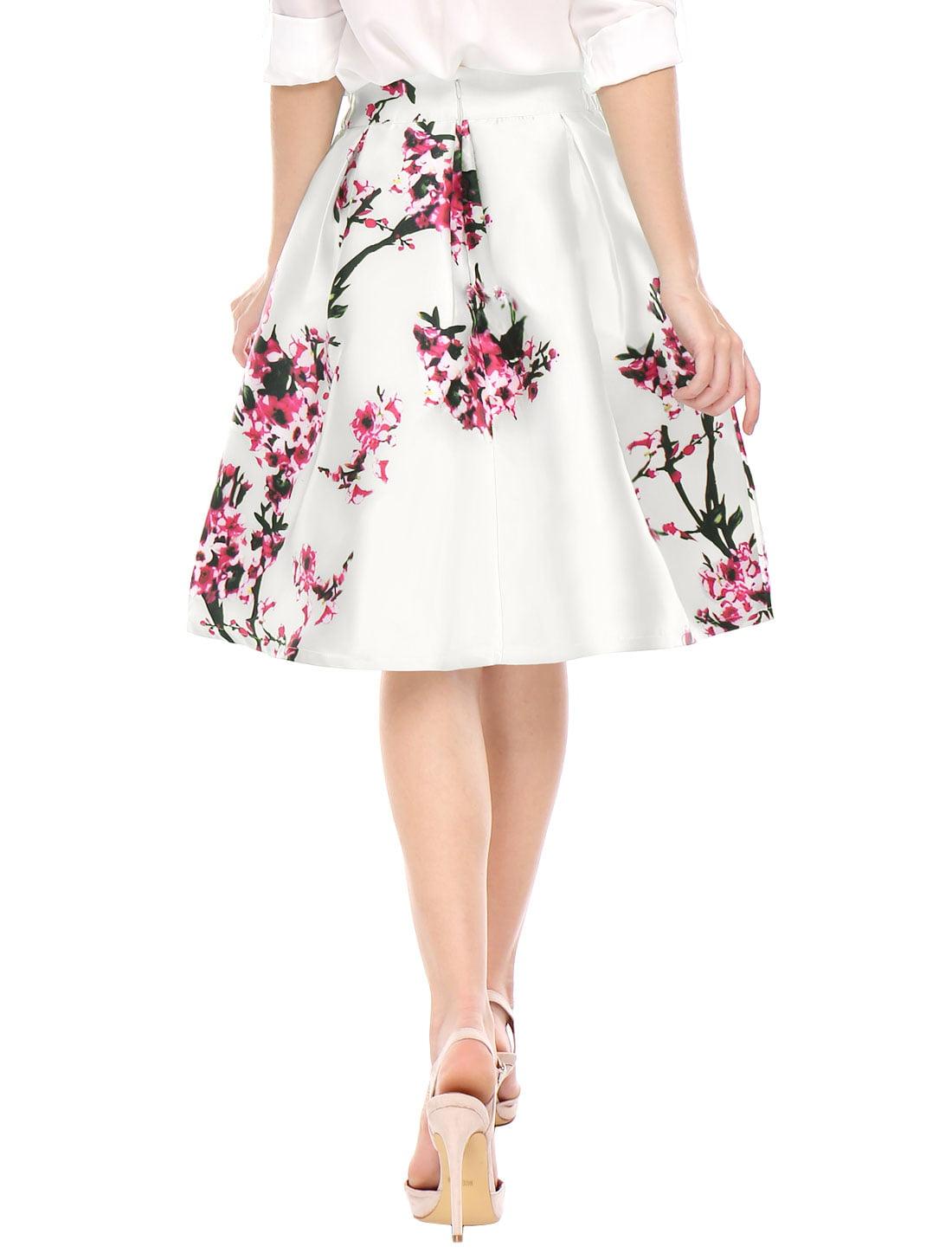 Women's Floral Prints High Waist Pleated A Line Midi Skirt Dress