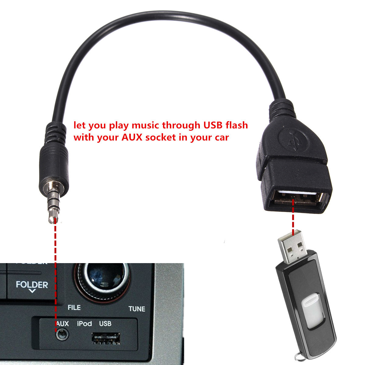 M.way Sync 3.5mm Male AUX Audio Plug Jack to USB 2.0 Type A Female OTG Converter Adapter Cable Cord