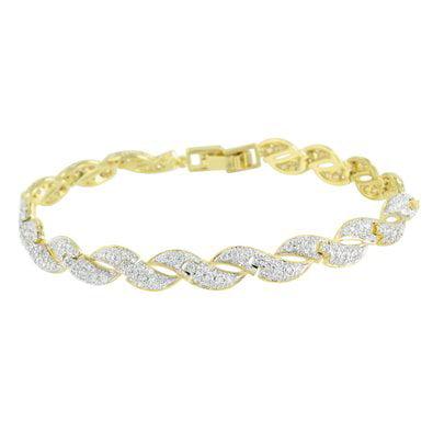 Womens Gold Finish Bracelet Spiral Design Lab Diamonds Unique Elegant Low Price