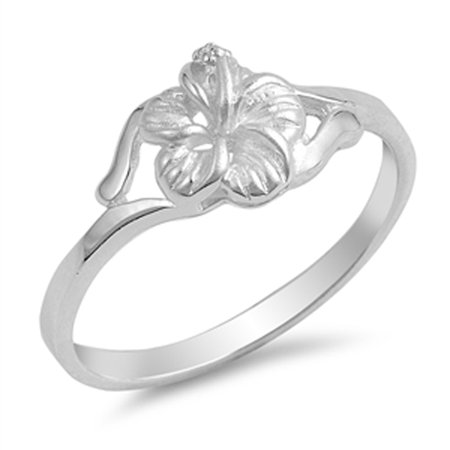 Hawaiian Tropical Flower Filigree Ring ( Sizes 4 5 6 7 8 9 10 ) New .925 Sterling Silver Band Rings by Sac Silver (Size 9)