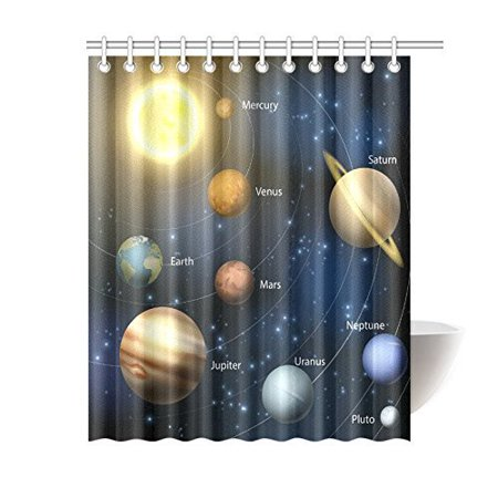 MYPOP Outer Space Decor Shower Curtain, Solar System Orbit the Sun with Names Of Planets Geography Educational Picture Polyester Fabric Bathroom Set with Hook, 60 X 72 Inches