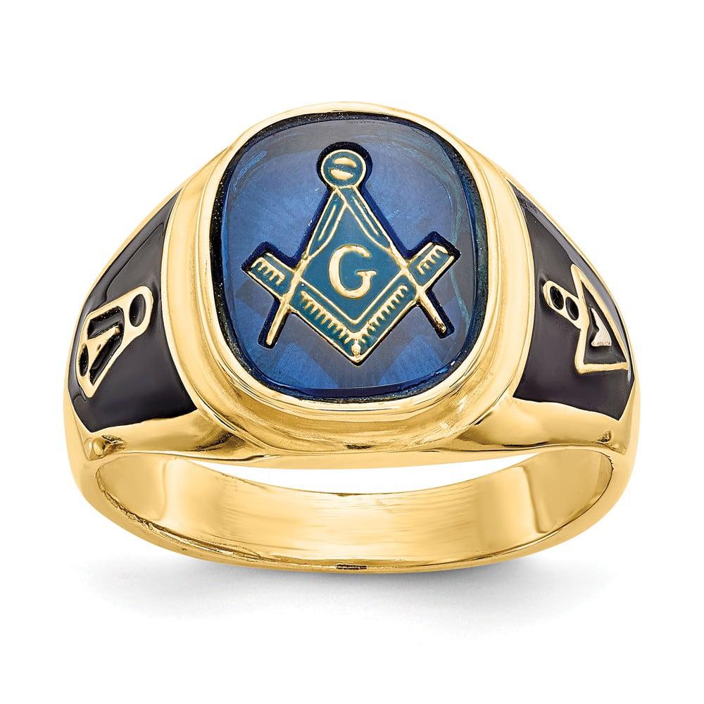 10k Yellow Gold Blue Acrylic Mens Masonic Ring