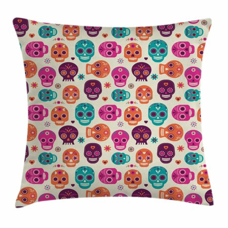 Sugar Skull Decor Throw Pillow Cushion Cover, Cute Colorful Skull Silhouettes Hearts and Flowers Carnival Celebration, Decorative Square Accent Pillow Case, 16 X 16 Inches, Multicolor, by Ambesonne (Colorful Sugar Skull)