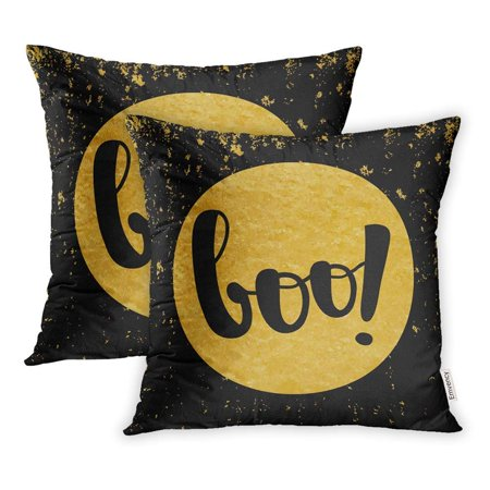 USART Happy Halloween Boo on Gold Scary Script Announcement Autumn Blank Brush Pillowcase Cushion Cover 20x20 inch, Set of 2