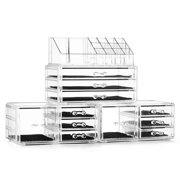 Unique Home Acrylic Makeup Cosmetic Organizer 4 Piece Large Set to Conceal Lipstick, Eye-Shadow, Brushes with 3 Storage Drawers, Clear, 4 Piece Set