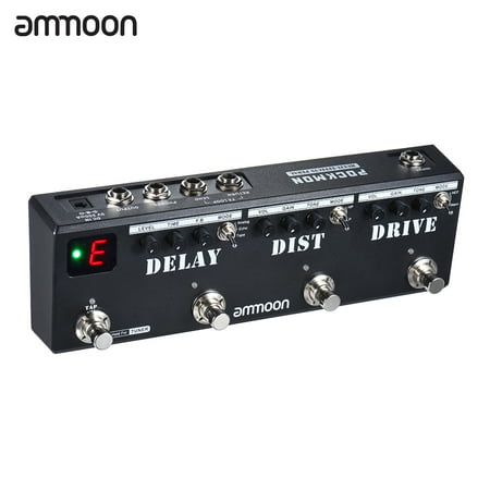 ammoon POCKMON Multi-Effects Pedal Strip with Tuner Delay Distortion Overdrive FX Loop Tap Tempo Guitar Effect