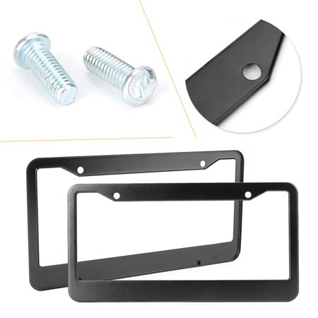 GZYF License Plate Frames, 2PCS 4 Holes Stainless Steel Black Car License Plate Cover Holders for US - Cars Plates