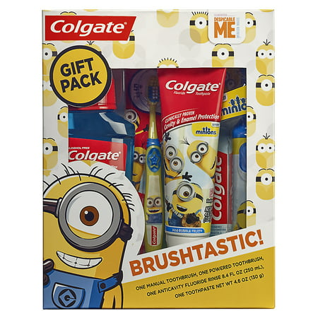 Colgate Kids Toothbrush, Toothpaste, and Mouthwash Set, Minions