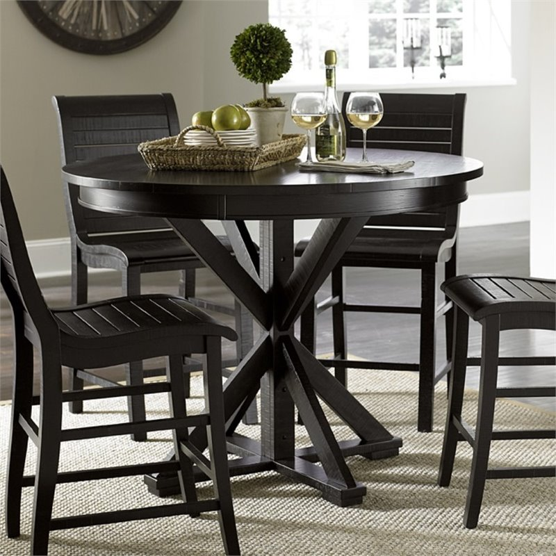 Progressive Willow 48 Round Counter Height Dining Table In Black Walmart Com Walmart Com