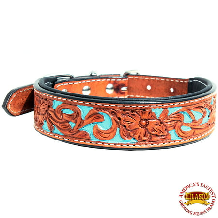 - Large Hilason Heavy Duty Genuine Leather Dog Collar Padded Tan