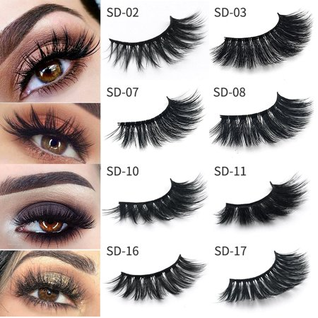 2 Pairs 3D Mink False Eyelashes Wispy Cross Long Thick Soft Fake Eye Lashes best gift](Halloween Fake Eyelashes)