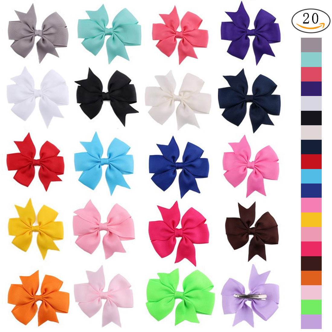Nlife 20Pcs Grosgrain Hair Bows with Alligator Teeth Clips for Girls Baby Kids