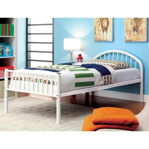 Furniture of America Linden Single Arch Metal Twin Bed Orange