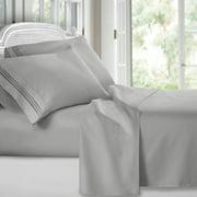 Clara Clark 1800 Series Deep Pocket 4pc Bed Sheet Set Queen Size, Silver Light Gray