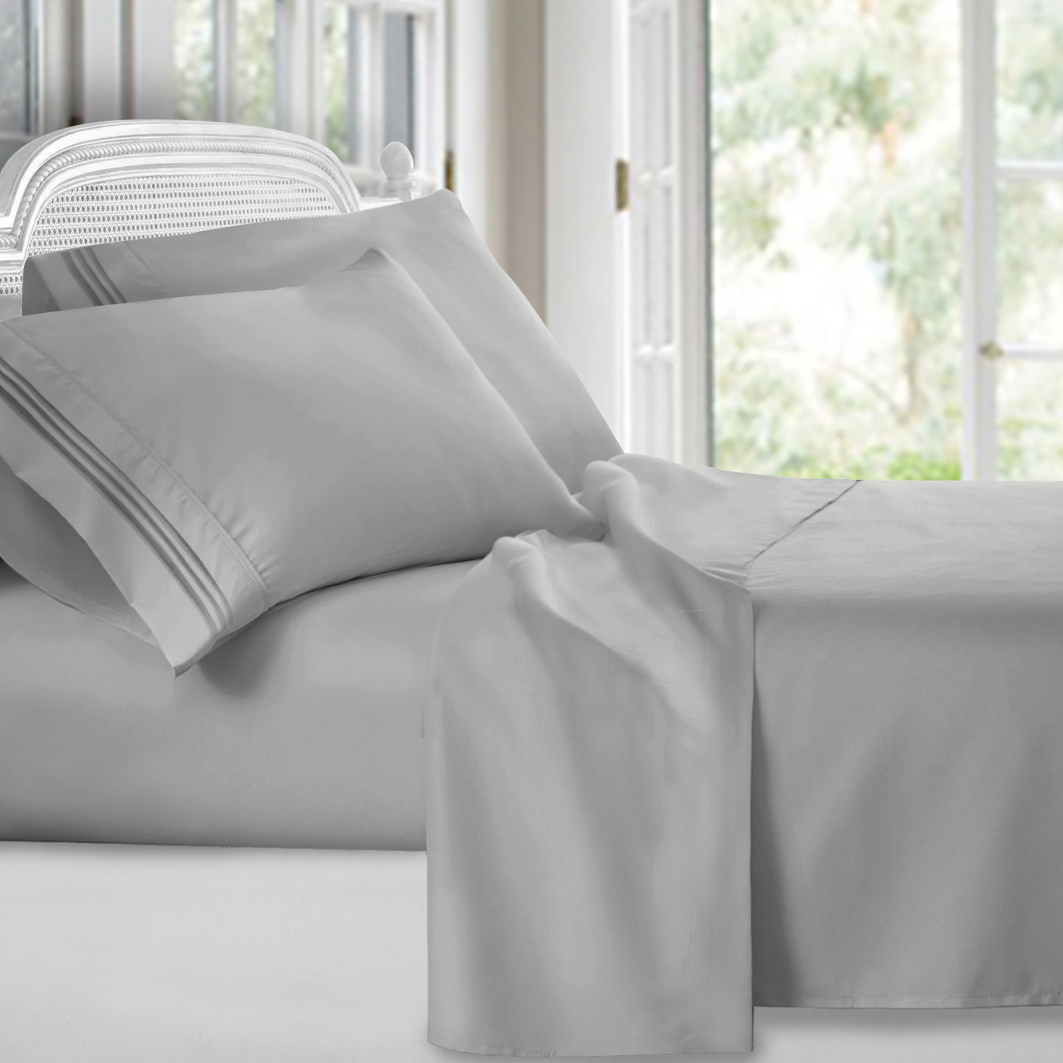 Clara Clark 1800 Series Deep Pocket 4pc Bed Sheet Set Queen Size, Silver Light Gray