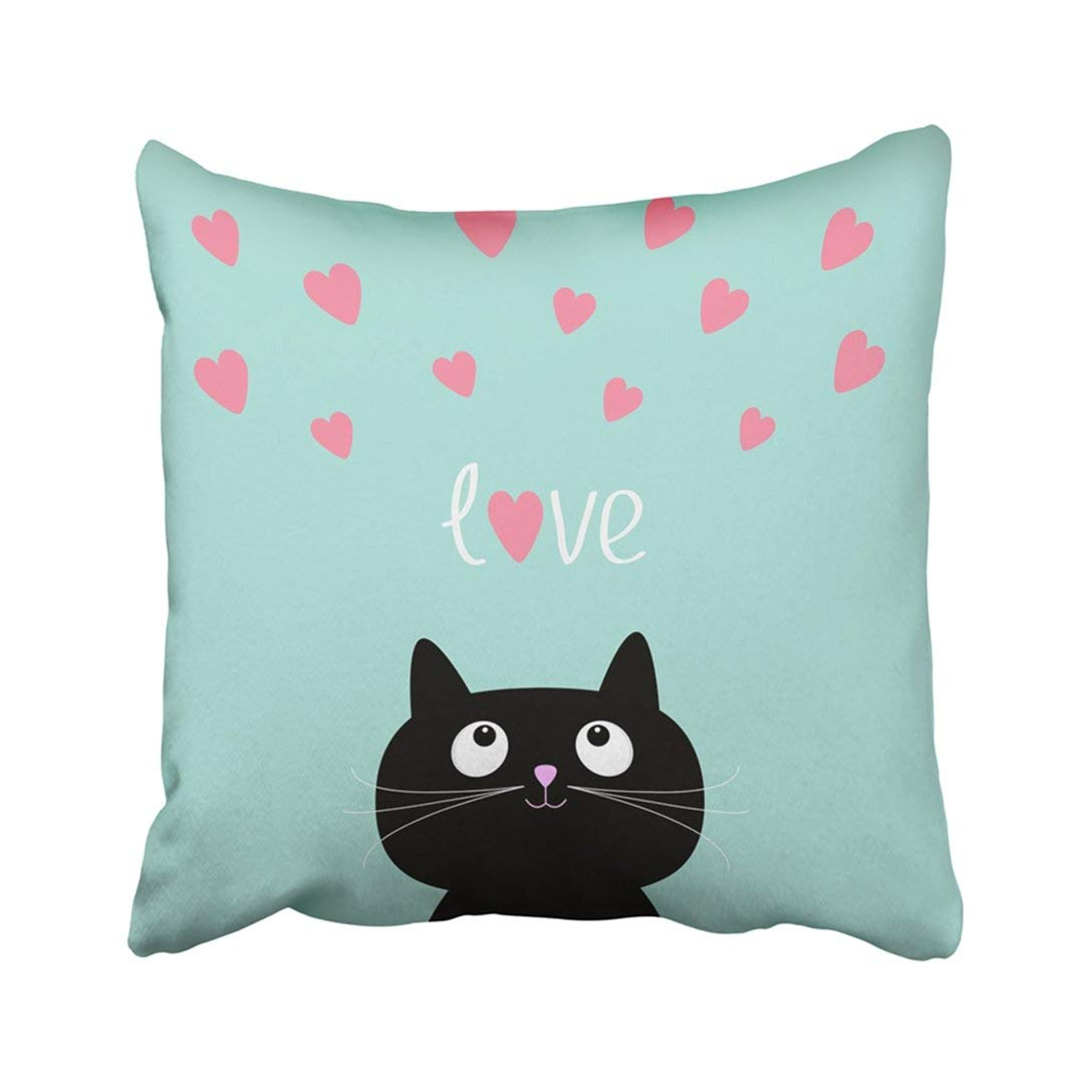 ARTJIA Black Abstract Pink Hearts And Cute Cartoon Cat Flat Design Style Blue Animal Bright Child Pillowcase Throw Pillow Cover 18x18 inches