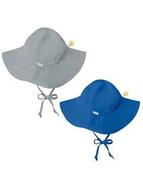 i play Baby and Toddler Brim Sun Protection Hat- Gray and Royal Blue - 2 Pack