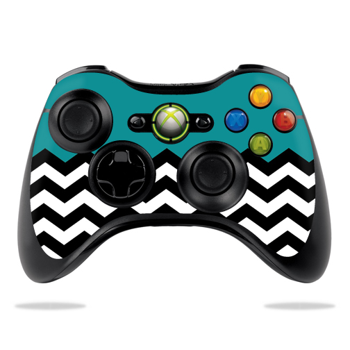 Protective Vinyl Skin Decal Cover for Microsoft Xbox 360 Controller wrap sticker skins Teal Chevron