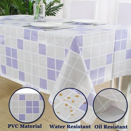 "Tablecloth PVC Oil Stain Resistant Plaid Pattern for Rectangle Table 54""x71"",#8 - image 5 de 7"